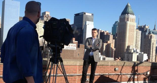 Erik Mouthaan aan het werk in New York. Foto Elze van Driel