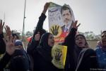 Morsi-aanhangers bij de start van zijn proces | Foto: Ester Meerman