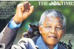 Nelson Mandela op de voorkant van The Times. Foto: @suttonnick