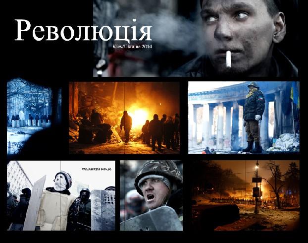 Collage van het werk van Marielle van Uitert tijdens de recente demonstraties in Kiev.