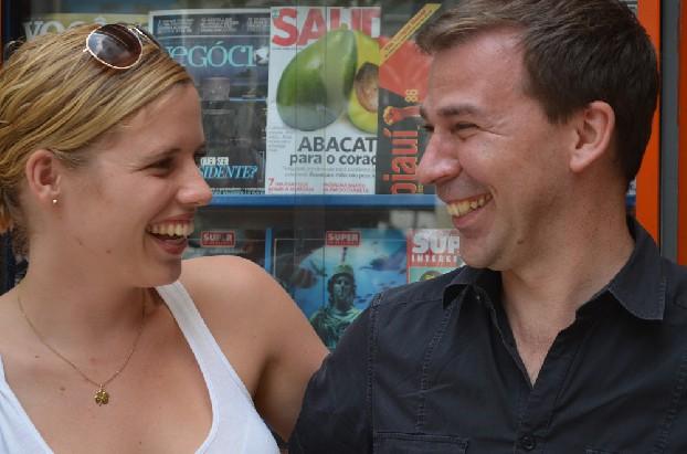 Sandra Korstjens (RTL) en Marc Bessems (NOS) in Sao Paolo. Foto Sascha Meijer en Nikki van der Westen