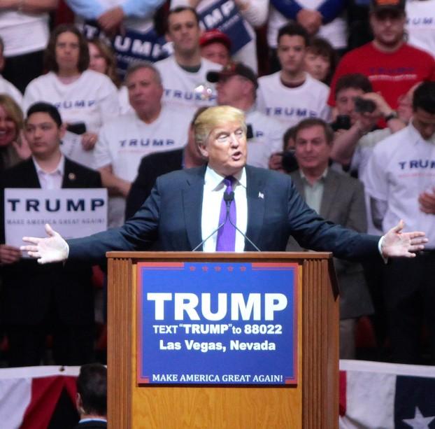 Donald Trump spreekt aanhangers toe bij een campagnebijeenkomst in Las Vegas in februari. Foto Gage Skidmore / Wikimedia Commons